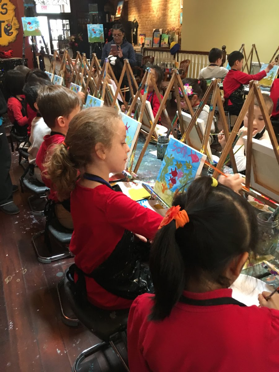 students painting on easels