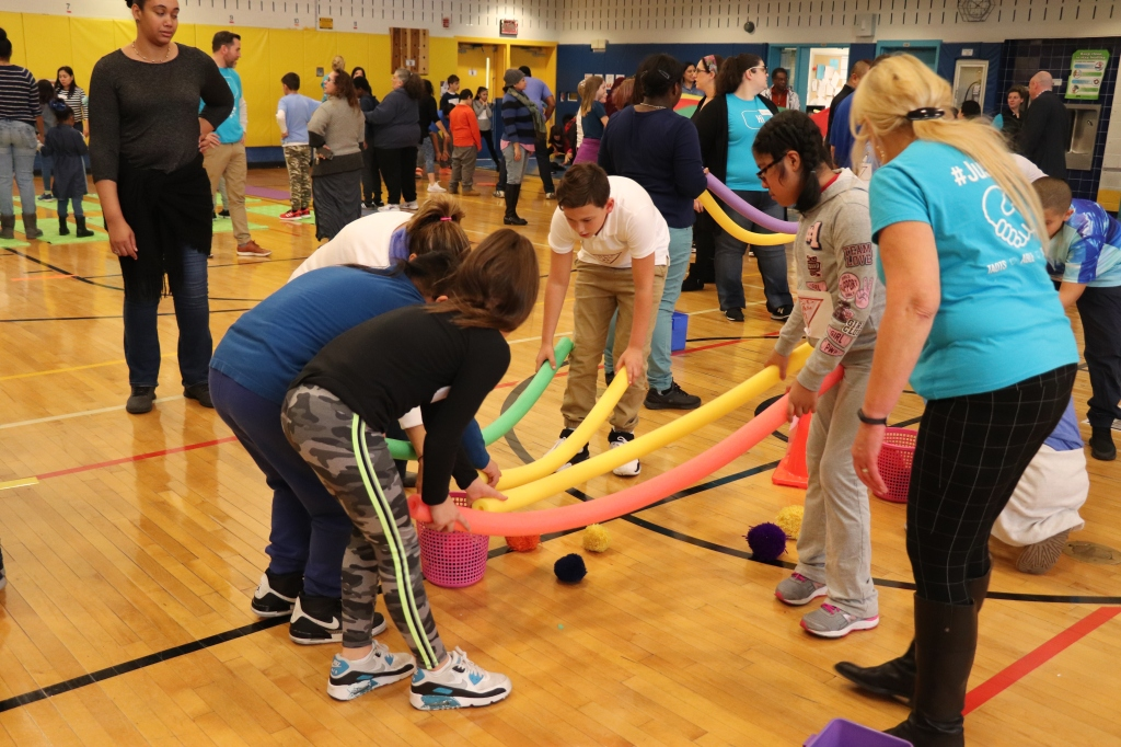 students playing in group activity