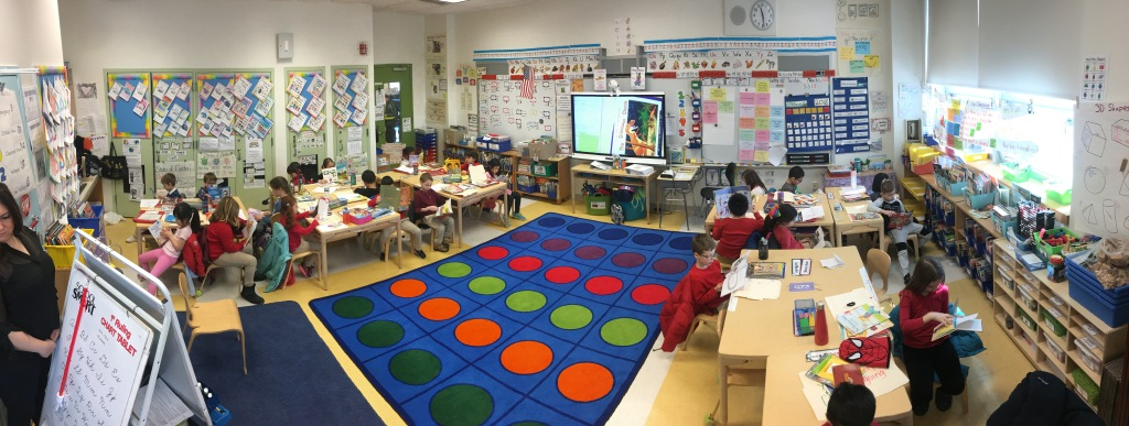 wide shot of a classroom in action